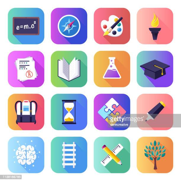 graduation & board certification flat smooth gradient style vector icons set - life events stock illustrations