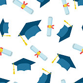 Graduation cap and diploma rolled scroll seamless pattern background icon. Business flat vector illustration. Finish education sign symbol pattern.