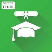Graduation cap and diploma scroll icon. Business concept finish education pictogram. Vector illustration on green background with long shadow.