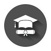 Graduation cap and diploma scroll icon vector illustration in flat style.