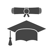 Graduation cap and diploma scroll icon vector illustration in flat style. Finish education symbol. Celebration element. Black graduation cap with diploma on white background.