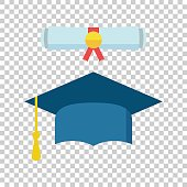 Graduation cap and diploma scroll icon vector illustration in flat style. Finish education symbol. Celebration element. Colorful graduation cap with diploma on isolated background.