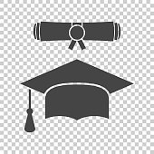 Graduation cap and diploma scroll icon vector illustration in flat style. Finish education symbol. Celebration element. Black graduation cap with diploma on isolated background.