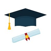 Graduation cap and diploma scroll on white background.