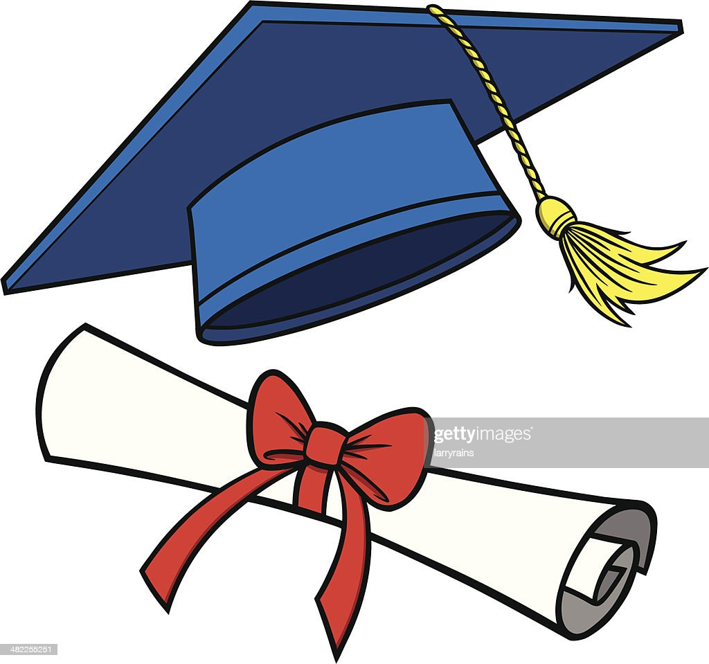 graduation cap and diploma vector art getty images rh gettyimages com