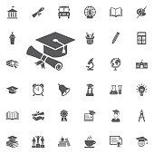 graduation cap and diploma web icon.