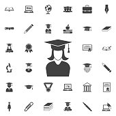 graduation cap and girl icon