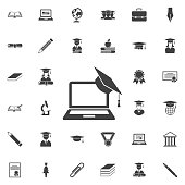 Graduation cap and laptop icon