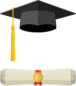 Graduation cap and rolled diploma scroll.
