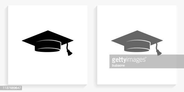 graduation cap black and white square icon - gray hat stock illustrations