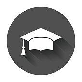 Graduation cap flat design icon. Finish education symbol.