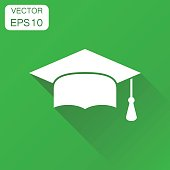 Graduation cap icon. Business concept finish education pictogram. Vector illustration on green background with long shadow.