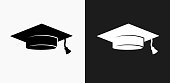 Graduation Cap Icon on Black and White Vector Backgrounds