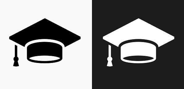 Graduation Cap Icon on Black and White Vector Backgrounds - gettyimageskorea