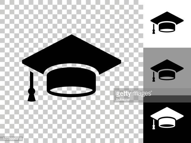 graduation cap icon on checkerboard transparent background - mortarboard stock illustrations