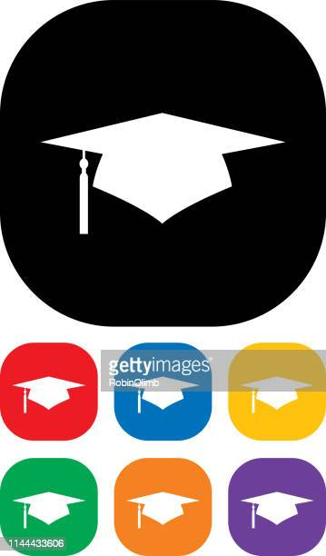 graduation cap icon set 2 - tassel stock illustrations