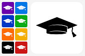 Graduation Cap Icon Square Button Set