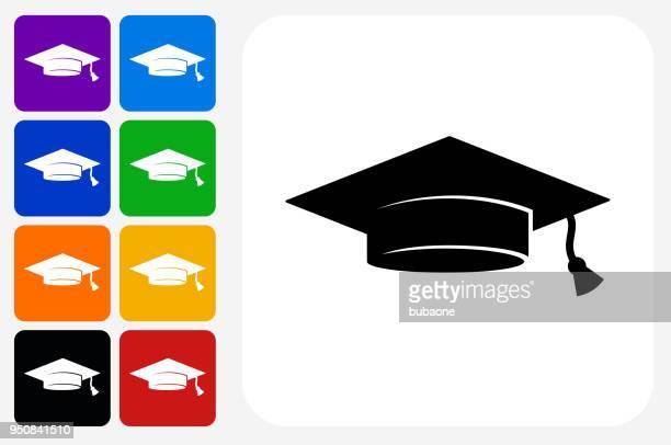 ilustraciones, imágenes clip art, dibujos animados e iconos de stock de grupo de botones de graduación cap icono cuadrado - birrete