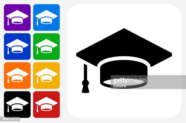Obtention du diplôme Cap icône carré bouton Set