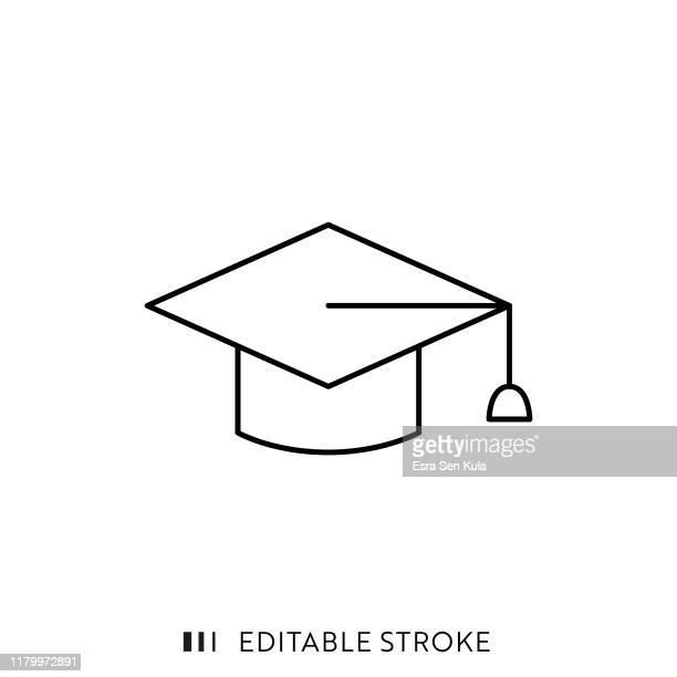 graduierung cap icon mit editierbaren strich und pixel perfekt. - hochschulstudium stock-grafiken, -clipart, -cartoons und -symbole
