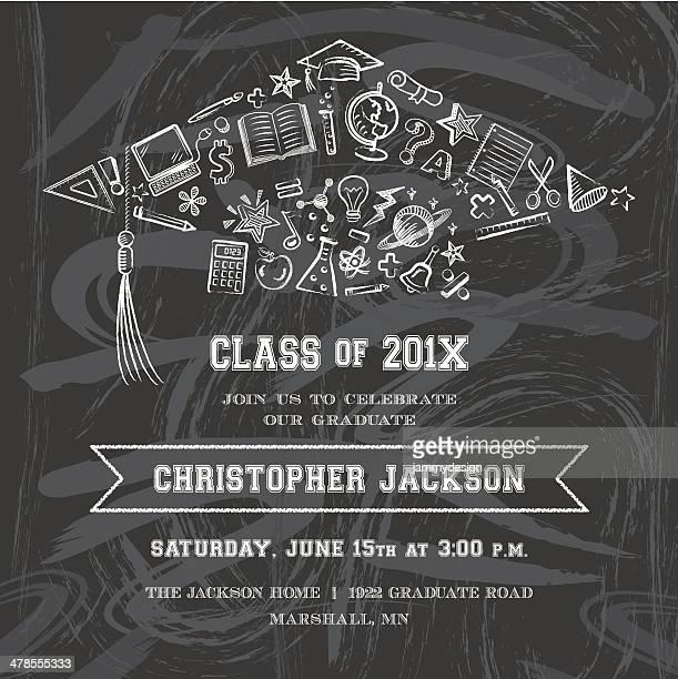 graduation cap invitation - high school stock illustrations, clip art, cartoons, & icons