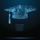 Graduation cap low poly blue