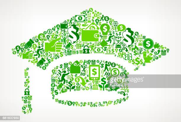 Graduation Cap  Money and Finance Green Vector Icon Background