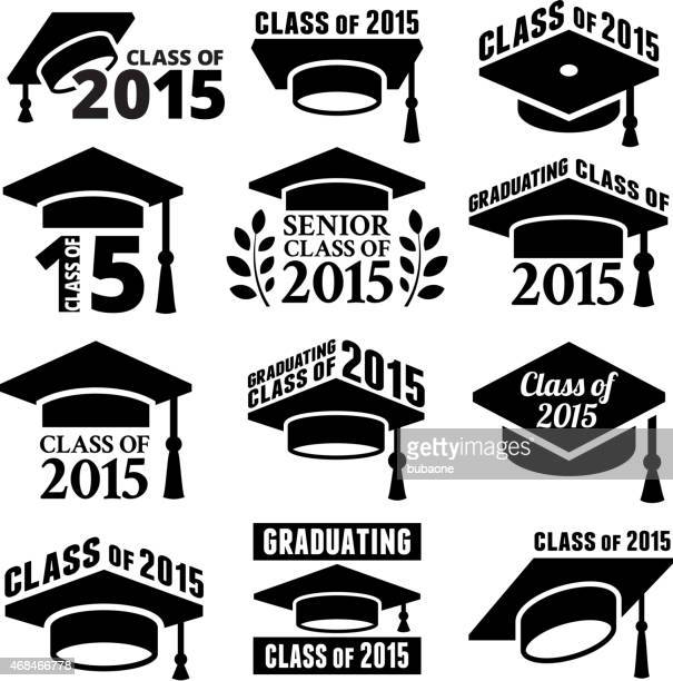 Graduation cap mortar board royalty free vector icon set