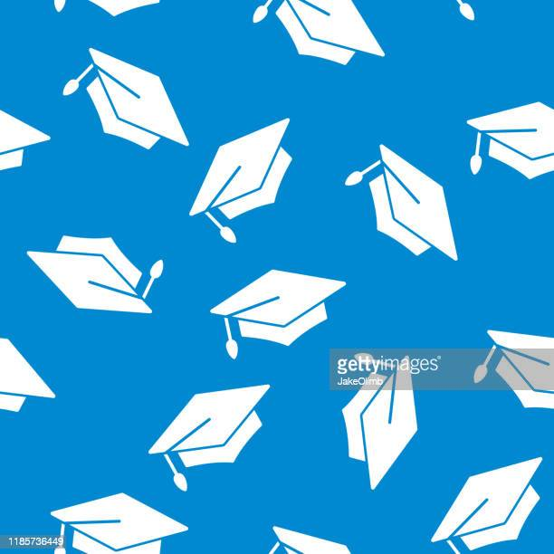 ilustraciones, imágenes clip art, dibujos animados e iconos de stock de silueta del patrón de la tapa de graduación - birrete