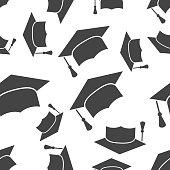 Graduation cap seamless pattern background icon. Business flat vector illustration. Finish education hat sign symbol pattern.