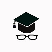 Graduation cap with glasses