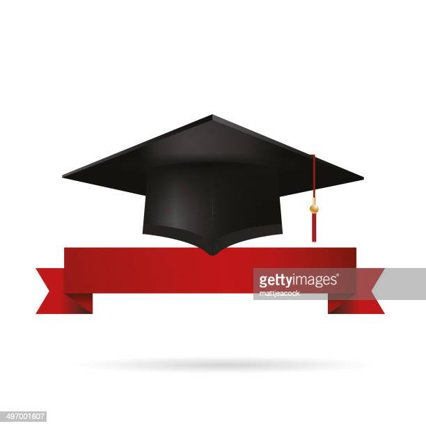 Graduation cap with red ribbon