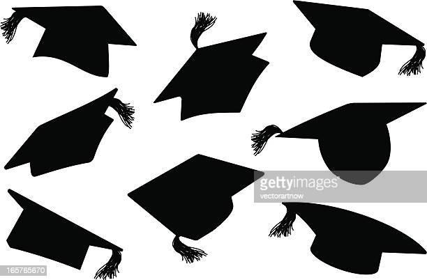 ilustraciones, imágenes clip art, dibujos animados e iconos de stock de graduación/mortarboards tapas - birrete