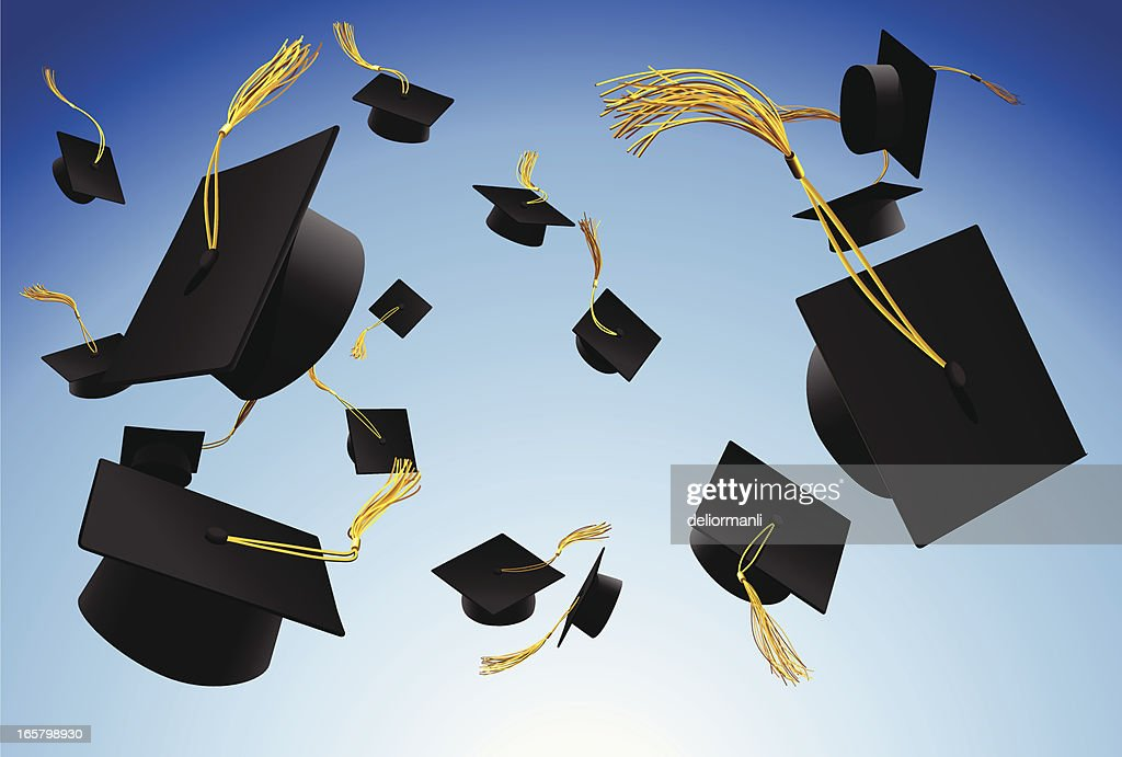 Graduation caps thrown in the air : stock illustration