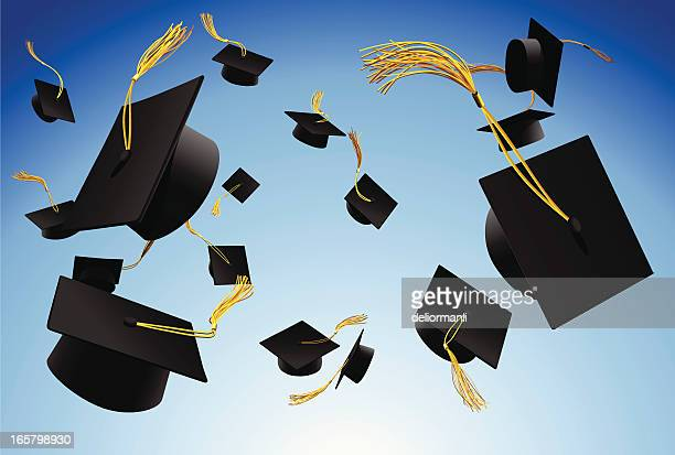 graduation caps thrown in the air - cap hat stock illustrations, clip art, cartoons, & icons