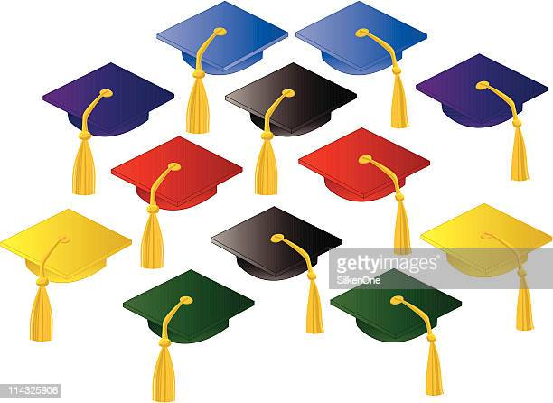 graduation caps - tassel stock illustrations