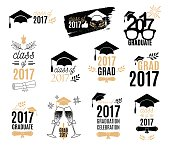 Graduation class of 2017 labels design set. Badges kit for shirt, print, seal, overlay, stamp, greeting card, invitation. Vector sign or logo. Isolated