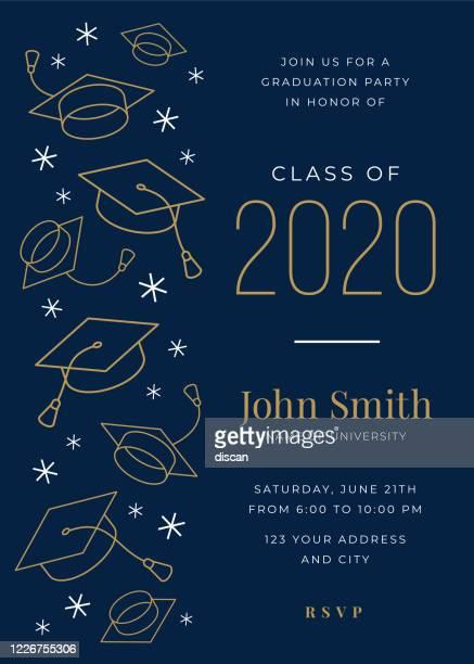 abschlussklasse 2020. party-einladung. designvorlage mit symbolelementen. - gratulieren stock-grafiken, -clipart, -cartoons und -symbole