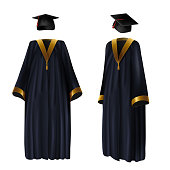 Graduation clothing, gown and cap vector