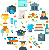 Graduation day and learning vector concept with graduate party icons