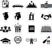 Graduation day black & white royalty free vector icon set