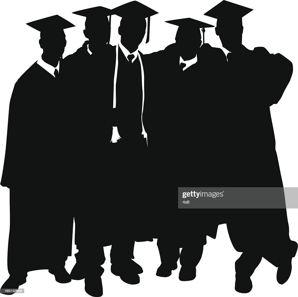 Graduation Day Men Wearing Their Cap And Gown Vector Art | Getty Images