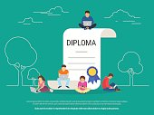 Graduation diploma concept vector illustration
