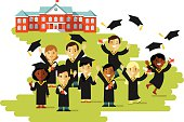 Graduation education concept in flat style