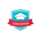 Graduation emblem vector illustration, school or university crest symbol idea