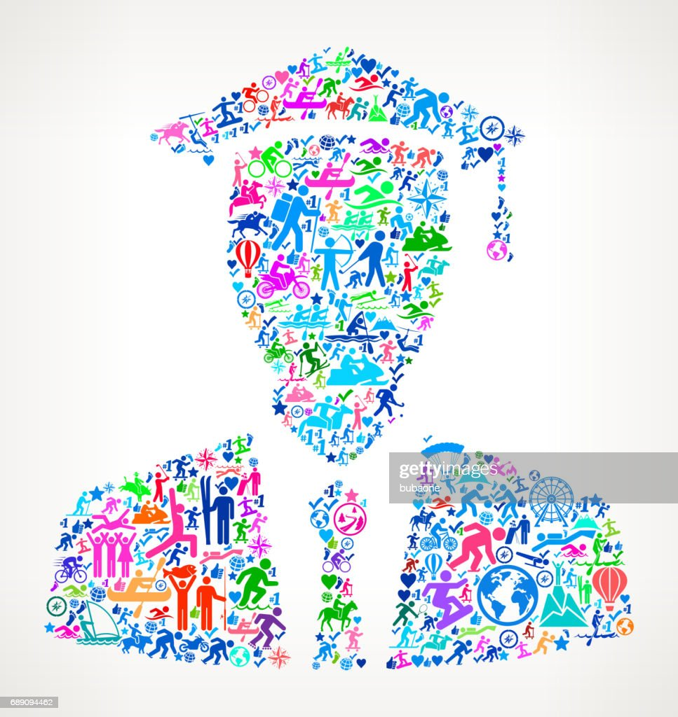 Graduation Face  Active Lifestyle Vector Icon Pattern : Stock Illustration
