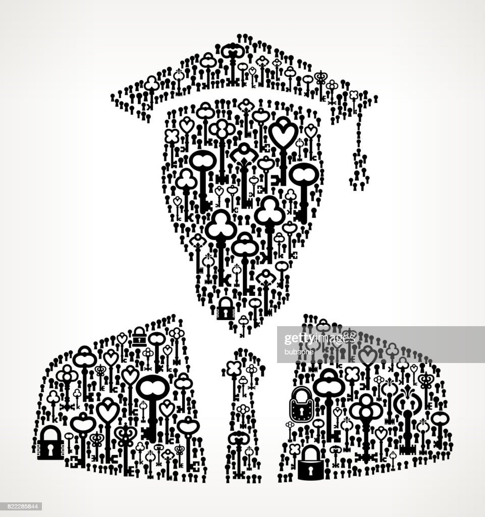 Graduation Face  Antique Keys Black and White Vector Pattern : stock illustration