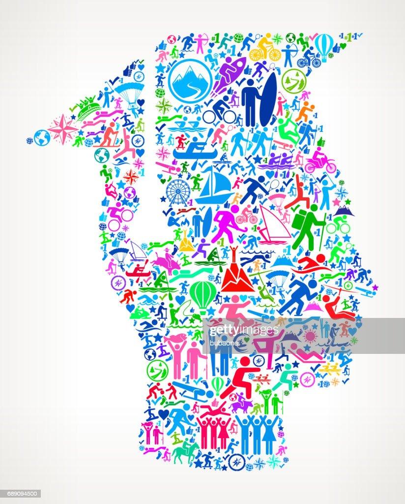 Graduation Face & Hat Active Lifestyle Vector Icon Pattern : Stock Illustration