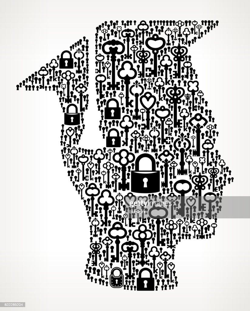 Graduation Face & Hat Antique Keys Black and White Vector Pattern : stock illustration
