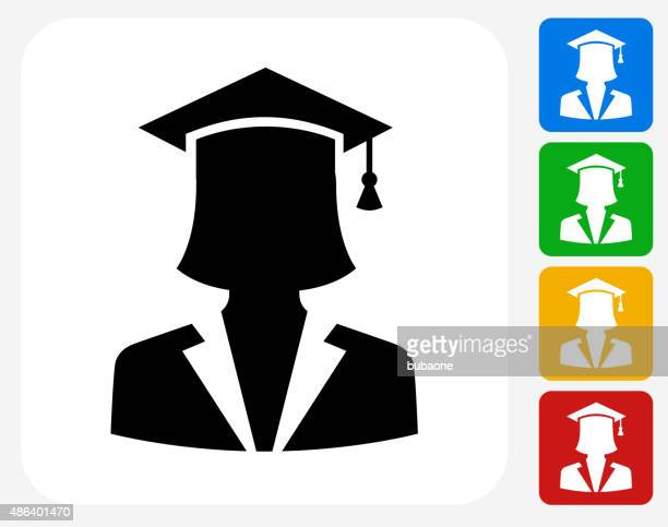 Graduation Face Icon Flat Graphic Design